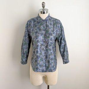 vintage 60's cotton floral button front blouse